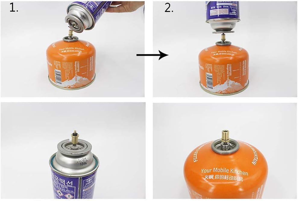 Adaptador de Recarga de Gas de Botella Butano Cartucho de Gas/Bote 3 Piezas, Recarga de Gas para Bote de válvula de Tipo Tornillo, Adaptador de ...