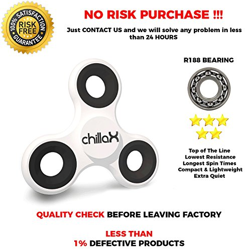Chillax Fidget Spinner – Tri-Spinner Fidget Toy for Anxiety and ADHD – Premium Quality EDC Focus Toy for Kids & Adults – Best Stress Reducer, Giving Up Smoking Boredom and Relaxation Toy (White B)