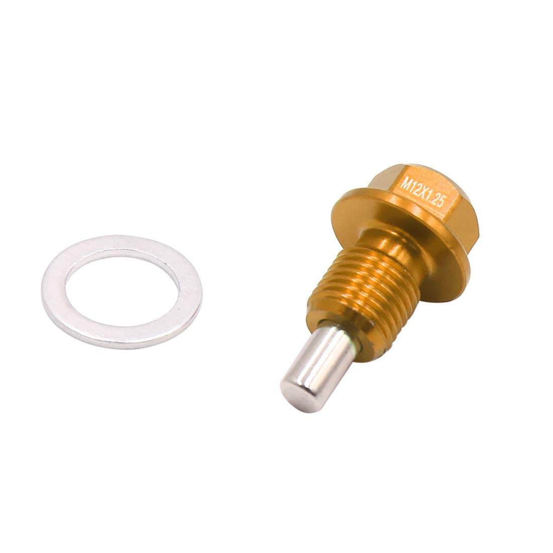 uxcell M12 x 1.25mm Thread Gold Tone Magnetic Auto Car Oil Pan Drain Bolt Kit w Washer