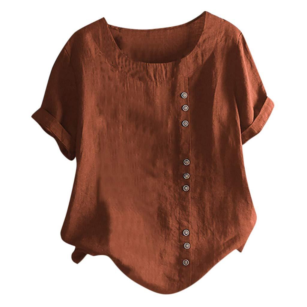 Bianco,S,M,L,XL,XXL,XXXL,XXXXL,XXXXXL) ESAILQ Camicia da Donna T-Shirt da Donna in Cotone e Lino con Bottoni Tinta Unita (Brown Verde