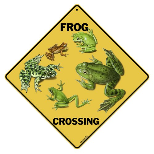 "Frog Crossing 12"" X 12"" Aluminum Sign"