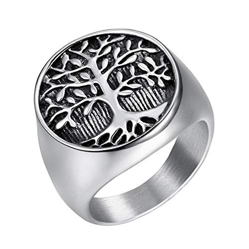 IFUAQZ Men's Stainless Steel Vintage Tree of Life Ring Signet Biker Band Round Top Black Silver Size 14