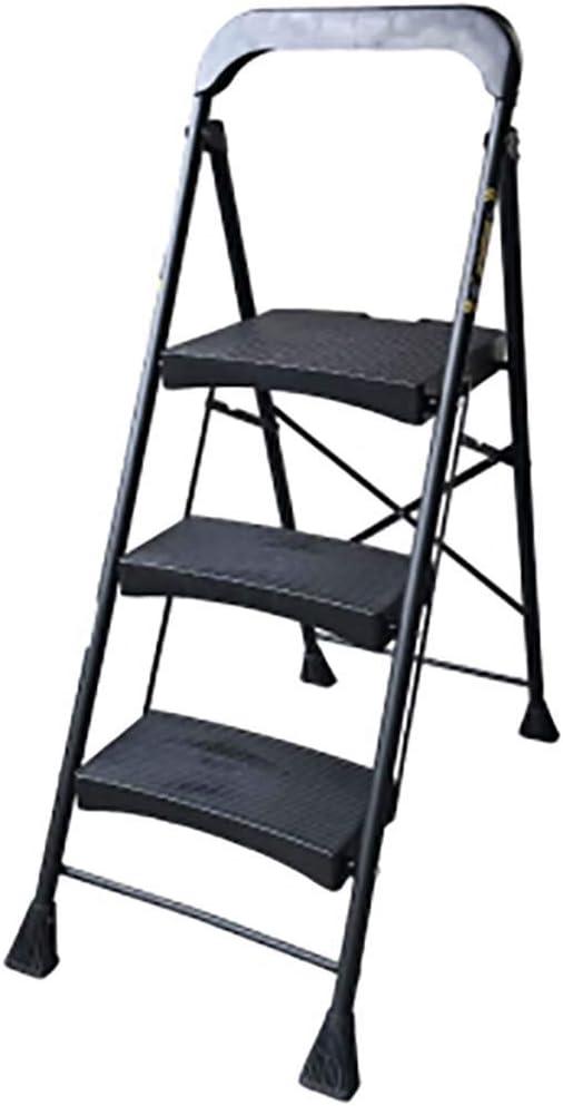 3 Paso Plegables Escalera,el Hierro Escalera Portátil Anti-slip Extra Amplia Pedal Ligero Multifunción Escalera Para El Hogar Cocina Oficina-negro: Amazon.es: Bricolaje y herramientas