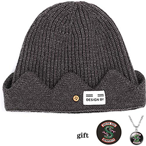 TOOBIT Jughead Jones Hat TV Movie Riverdale Adult Kids Fashion Crown Beanie Hat Riverdale Cosplay-BrownGift: Southside Serpents Patch and Necklace