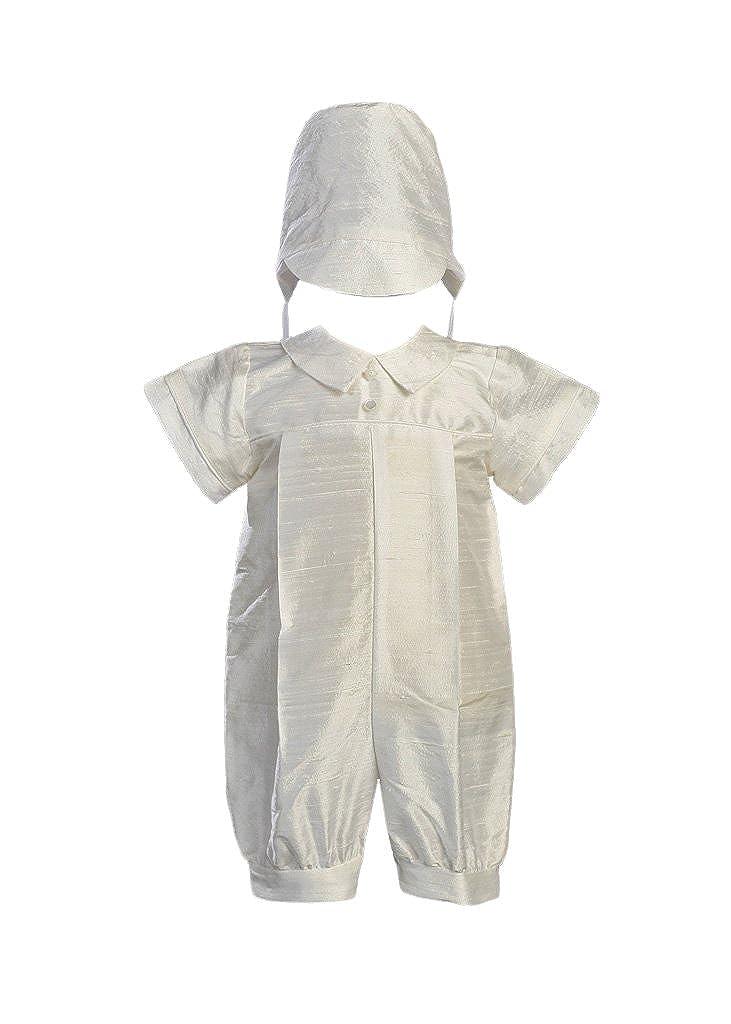 Boy's Silk Christening Baptism Romper - Size XS (0-3 Month)