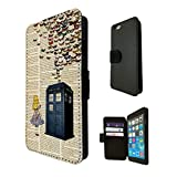 477 - Vintage News alice in wonderland Doctor Who Tardis Call Box butterflies Design Fashion Trend TPU Leather Flip Case For Apple iPhone 5/5S Full Case Flip TPU Leather Purse Pouch Defender Stand Cover