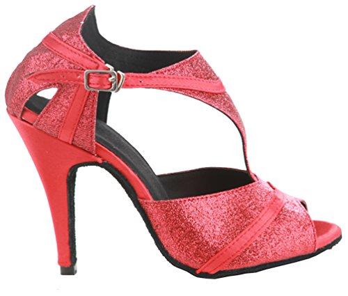 CFP PPC jj-8056para mujer Latin Salsa Cha-Cha Tango salón de baile zapatos de baile tacón 4 Red