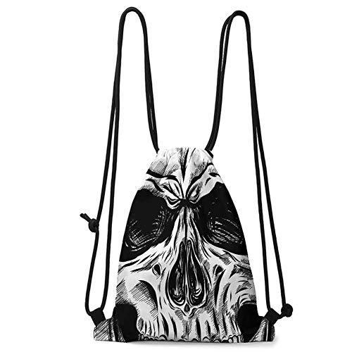 beam storage bag Halloween,Gothic Dead Skull Face Close Up Sketch Evil Anatomy Skeleton Artsy Illustration,Black White W13.8 x L17 Inch waterproof travel
