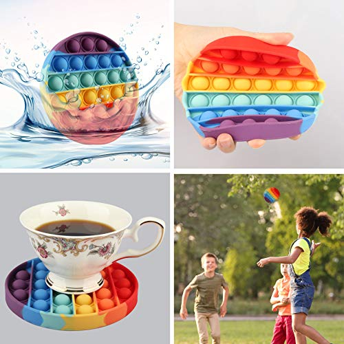 POP Fidget Toys Finger Push Bubble Fidget Sensory Toy for Autistic Children Stress Anxiety Relief Simple Dimple Autism Special Squeeze Fun Silicone Gifts for Adult Kids (1,Round-Colourful)