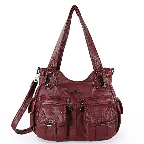Angelkiss Women's Handbag Large Double Zipper Multi Pocket Washed Shoulder bag Designer Handbags for Women (D,Burgundy) …