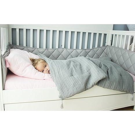 MayLily® Premium | Edredón de muselina con borlas para cuna| 120x90 cm | Llenado antialérgico | Puro algodón polaco | Hecho en la UE |: Amazon.es: Bebé
