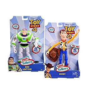 Disney Pixar Toy Story 4 Woody & Buzz Lightyear True Talkers 15 Sounds & Phrases, Talking Pretend Play Doll Action Figure Playset, Collectible Cartoon Movie Character Display for Age 3 Up (2 Items)