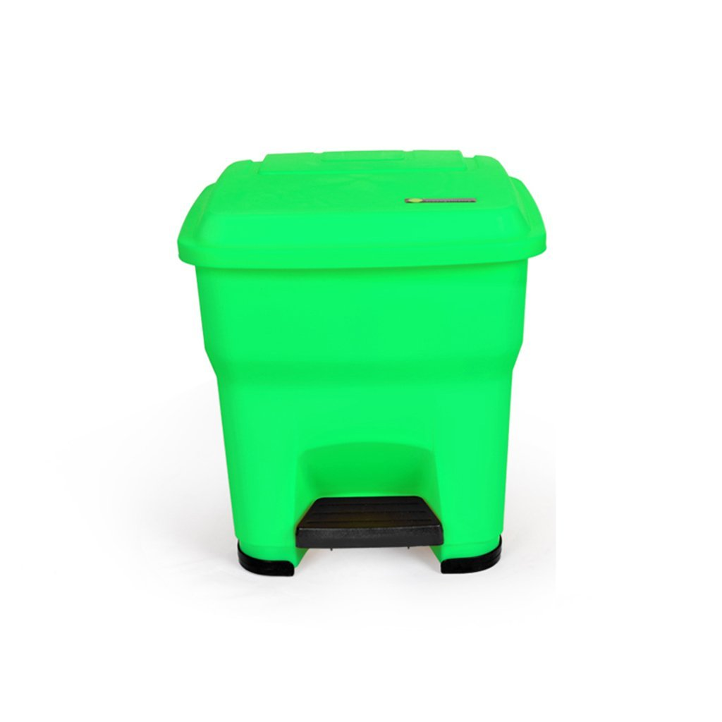Outdoor trash can CSQ, Large With Cover Creative Household Kitchen Office The Mall Hotel Foot Type Trash Can 30-55L (Color : Green, Size : 30L)