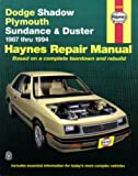 H30055 Haynes Dodge Shadow Plymouth Sundance and Duster 1987-1994 Auto Repair Manual