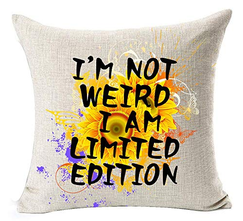 European Pastoral Watercolor Sunflower Flowers Funny Inspirational Sayings I'm Not Weird I Am Limited Edition Cotton Linen Throw Pillow Case Cushion Cover NEW Home Decorative Square 18X18 ()