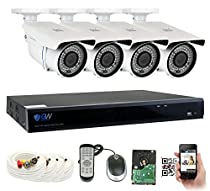 GW Security 8-Channel 2K HD(4MP) Complete Security System with (4) x True HD 4MP 1520P Outdoor / Indoor 2.8-12mm Varifocal Zoom Bullet Security Cameras and 2TB HDD, QR Code Scan Free Remote View