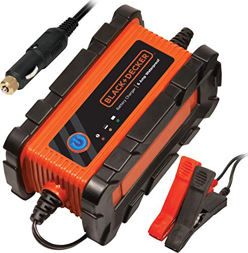Battery Charger Car Plug - BLACK+DECKER BC6BDW Fully Automatic 6 Amp 12V Waterproof Battery Charger/Maintainer with Cable Clamps