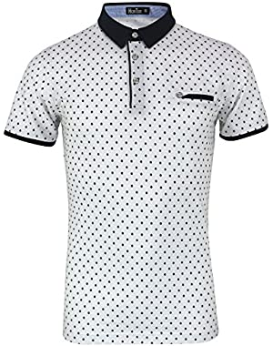 Men's Diamond Printed Slim Fit Cotton Sports Casual Golf Polo T-Shirts