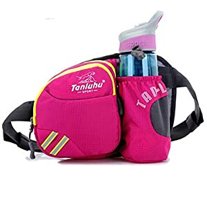 Ska Direct® Lumbar Waist Pack - Running Bag Belt with Water Bottle Holder - Waterproof Fanny Pack with Reflective Tabs (Pink)