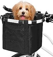 ANZOME Folding Bicycle Carrier Bike Basket Bag,Foldable Detachable Pet Small Animal Dog Cat Rabbit Travel Shop
