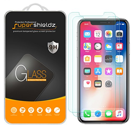 [2-Pack] Supershieldz for Apple iPhone X Tempered Glass Screen Protector, [Case Friendly] Anti-Scratch, Anti-Fingerprint, Bubble Free, Lifetime Replacement Warranty
