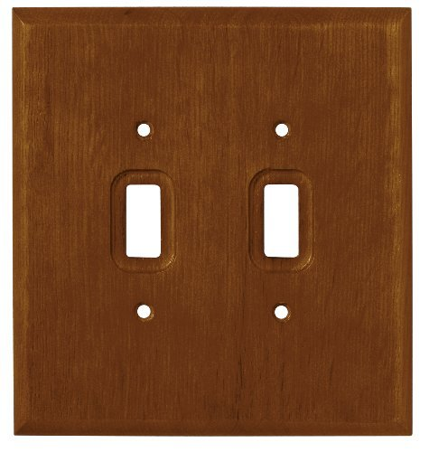 BRAINERD 126427 Wood Square Double Switch Wall Plate, Dark Oak