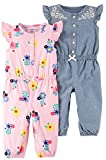 Carter's Baby Girls 2-Pack One Piece Romper, Pink Floral/Chambray, 18 Months