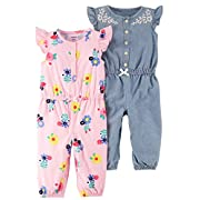 Carter's Baby Girls' 2-Pack One Piece Romper, Pink Floral/Chambray, 9 Months