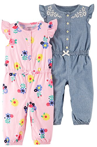 Carter's Baby Girls' 2-Pack One Piece Romper, Pink Floral/Chambray, 12 Months