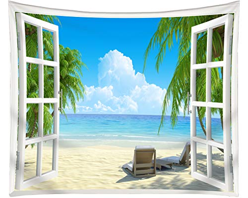 Get orange Beach Tapestry Palm Trees In Ocean Heaven Sunbeds Balcony White Wooden Windows Summer Tropical, Wall Hanging For Bedroom Living Room Dorm 60X51 Inch