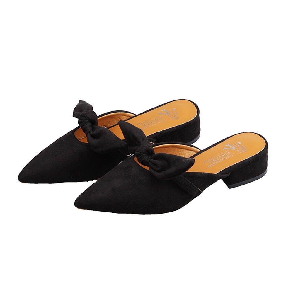 Hausschuhe Frauen Slide Sandalen Outdoor Chunky Low Keilabsatz Schuhe Spitz-Toe Kleid Pumps Bow-Knoten Mueller Schuhe  36 EU|Black