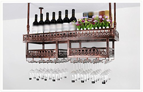 TLMY Bar Restaurant Bar Wine Glass Stand Upside Down Hanging Cup Holder Hanging Shelf Wine rack (Color : Brown)