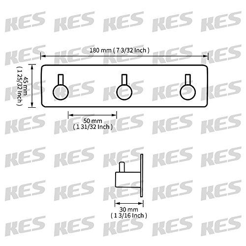 Kes Self Adhesive Hooks Rail Stainless Steel 3-Hook Rack Bath Towel Hook Sticky Bathroom Kitchen Towel Multi Hanger Matte Black, A7060H3-BK by Kes (Image #1)