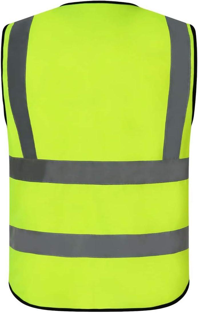 AIEOE Adulte Gilet Fluorescent Lot de 5 sans Manches Veste Gilet de S/écurit/é R/éfl/échissant Haute Visibilit/é Homme Femme Ouvrier Coursier Balayeur Volontaire Police Circulation Orange