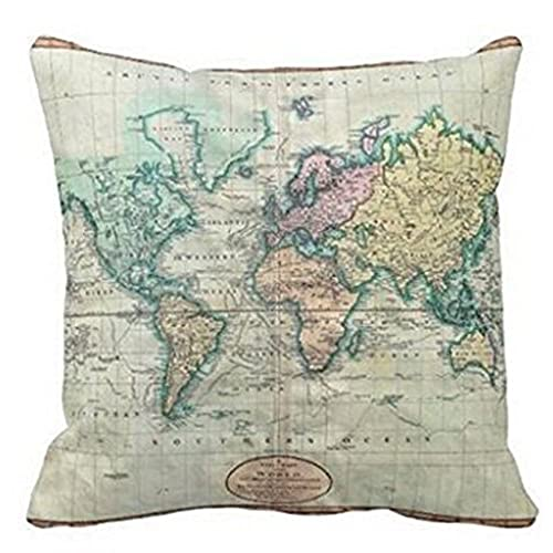 colorful world map cotton linen throw pillow case cushion cover home sofa decorative 18 x 18 inch 3