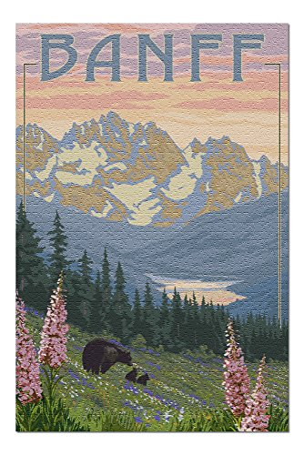- Banff, Alberta, Canada - Bears and Spring Flowers (with border) (20x30 Premium 1000 Piece Jigsaw Puzzle, Made in USA!)