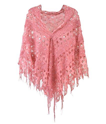 - Modadorn Knitting Pattern Triangle Fashion Shawl (Knit Net Fringe Lace Pink)