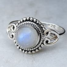 Moonstone Silver Ring, Blue Round Rainbow Moon Stone Gemstone jewelry, 925 sterling silver stone rings for women finger size 6, 7, 7.5, 8, 8.5, 9