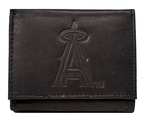 Rico Los Angeles Angels MLB Embossed Logo Black Leather Trifold Wallet