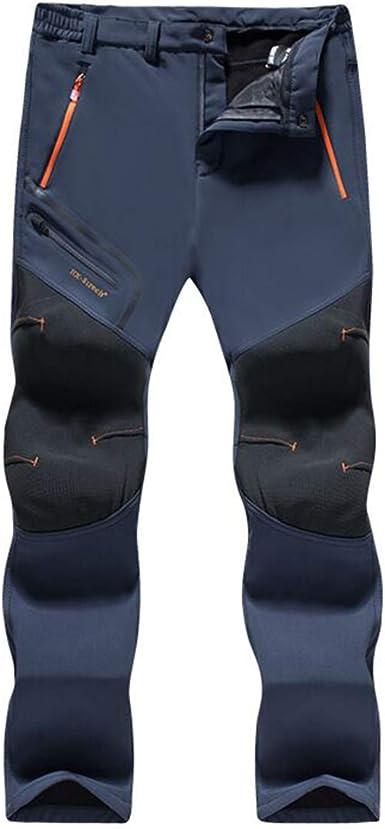 Gaga city Pantalones de Trekking Impermeables Softshell Hombre Invierno Mujer Pantalones de Montaña Transpirable Fleece Lined Pantalon Escalada ...