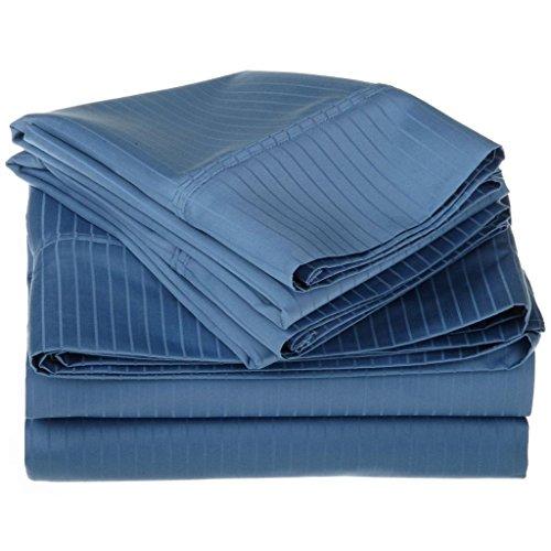 100% Egyptian Cotton 1000 Thread Count Oversized King Sheet Set Stripe, Medium Blue ()