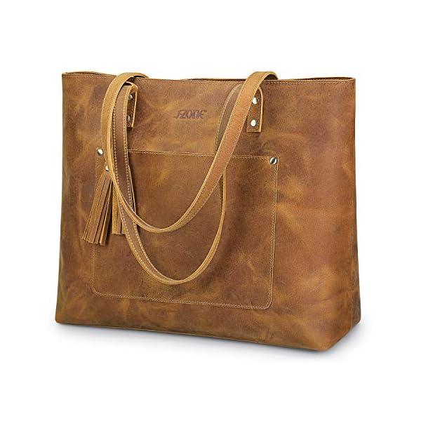 S-ZONE Vintage Genuine Crazy Horse Leather Shoulder Tote Bag Handbag Purse with Tassels