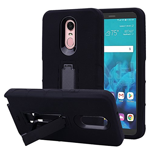 LG Stylo 4 Case, Binguowang Hybrid Heavy Duty Shockproof 3 in 1 design[Hard Plastic+Soft Silicone] Armor Defender Full-body Protective Case Cover with Kickstand for LG Stylo 4 2018. (Black) (Lg Boost Cases Phone For Mobile)