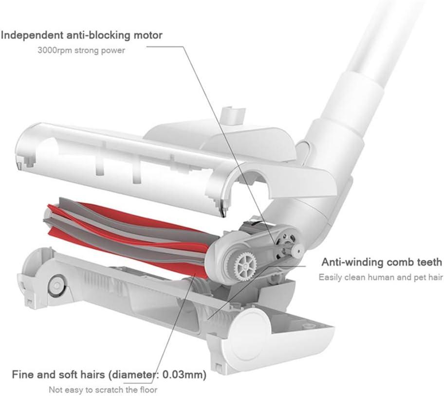 DXFK.AM sans Fil Rechargeable Aspirateur, Système De Filtrage Avancé 3 en 1 Poids Léger Aspirateur Balai pour La Maison Sol Dur Voiture Poils d\'animaux,Blanc White