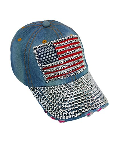 USA Denim Jean Baseball Cap, Rhinestone Studded American Flag