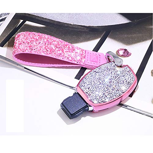 SHANG MEDING Mercedes Benz Key Fob Cover, Premium Soft TPU 360 Degree Full Protection Key Shell Key Case Cover for Mercedes Benz C E S M CLS CLK G Class Keyless Smart Key Fob Diamond Pink Lady