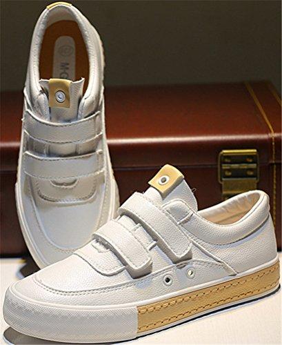 Scarpe Sportive Satuki Per Donna, Sneakers Piatte Casual In Pelle Scamosciata E Cinturino Bianche
