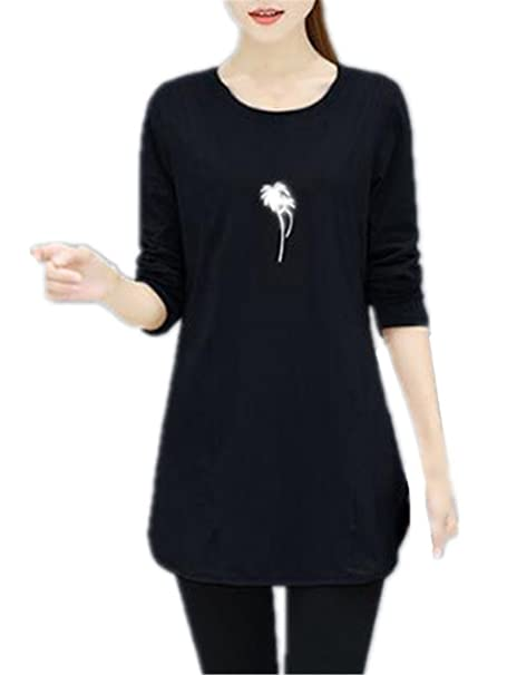 AILIENT Largo Mujeres Casuales Camisetas De Manga Larga Bordada Cuello Redondo T Shirt Elegantes Outwear Blusas