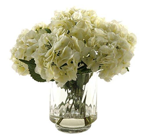 D & W Silks Hydrangeas in Glass Vase, Cream (Hydrangea Silk Flowers In Vase)