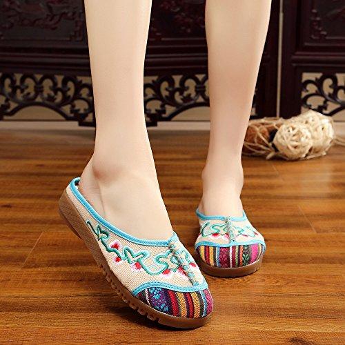 xiezi-zl Zapatos Bordados, lenguado de Tend¨®n, Estilo ¨¦tnico, Flip Flop Femenino, Moda, Sandalias c¨®Modas y Casuales beige